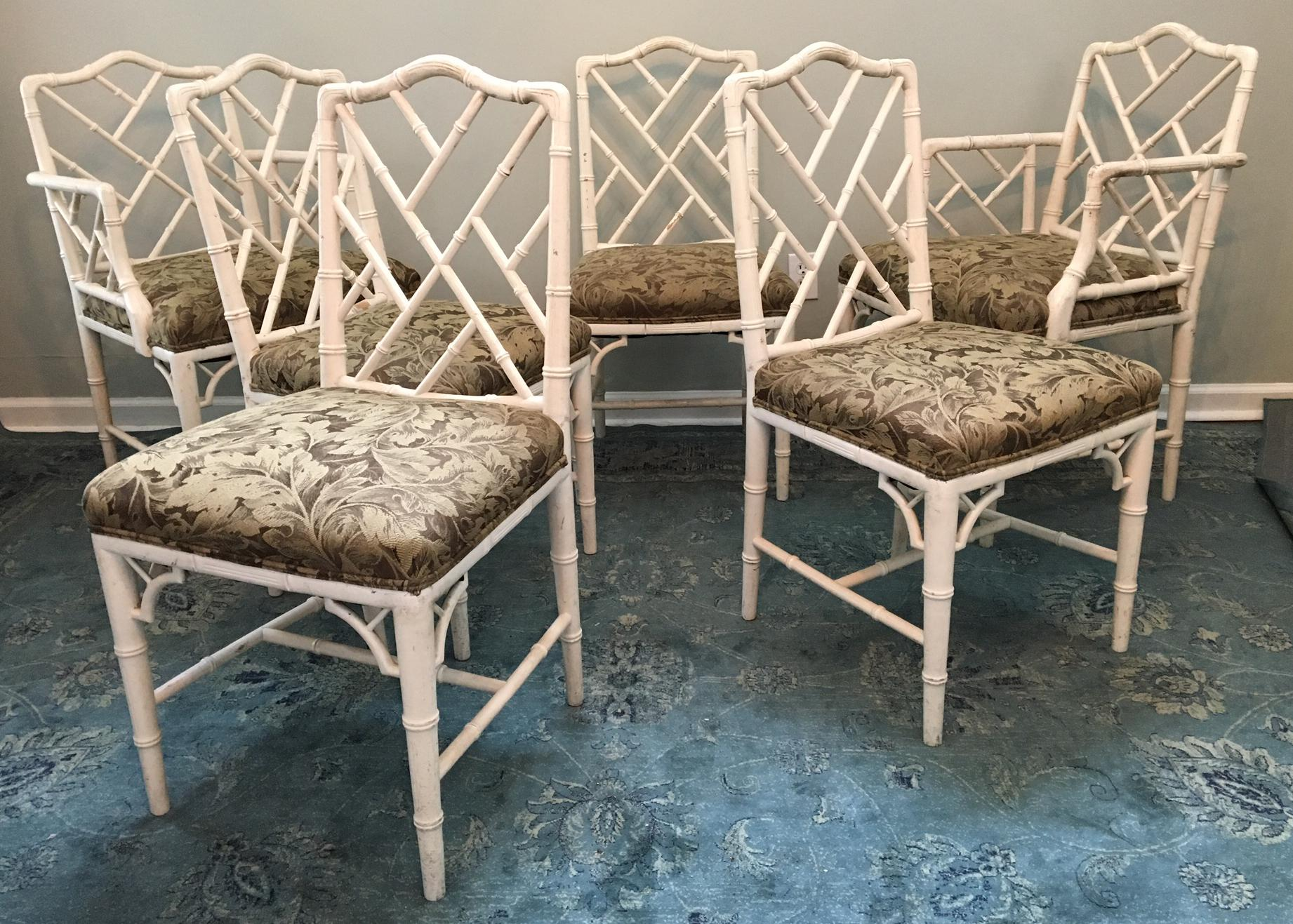 bamboo dining chairs. Set Of 6 Faux Bamboo Dining Chairs In The Iconic Asian Chippendale Style. 4 Side D