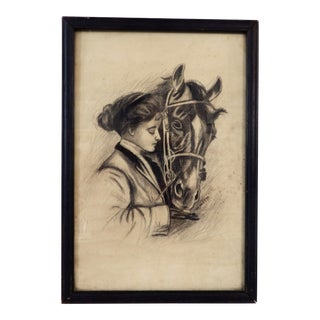 1909 Original Drawing, Girl With Her Horse For Sale