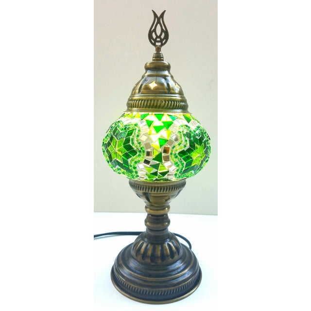 Handmade Green Mosaic Table Lamp - Image 4 of 4
