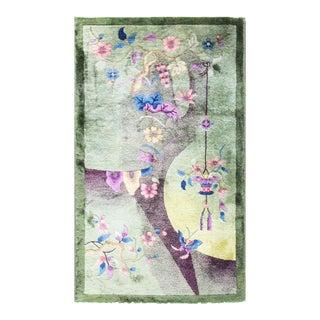 "1920s Traditional Chinese Eli Peer Art Deco Green Wool Rug - 2'6"" X 4'5"""