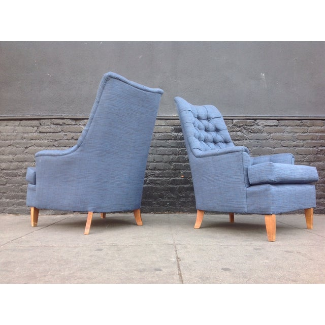 Mid-Century Tufted Blue Lounge Chairs - A Pair - Image 6 of 7