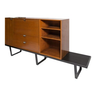 George Nelson Walnut Secretary and Bookcase on Extra Long Black Bench, Mfg. Herman Miller-1950's.