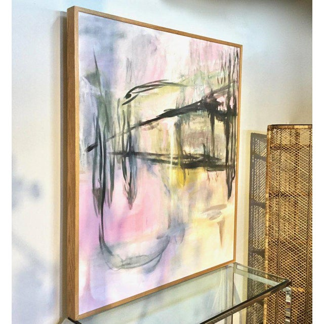 Huge impact from this graphic large scaled abstract painting on canvas, with solid oak custom frame. Fabulously stylish...