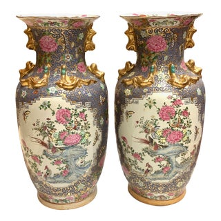 Canton Vases. 25 Inches Blue, Gold, Pink - a Pair For Sale