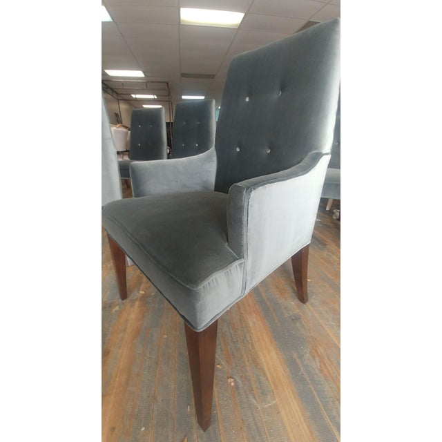 Wood Mid-Century Modern Henredon Furniture Barbara Barry Slate Grey Velvet Dining Chairs - Set of 6 For Sale - Image 7 of 12