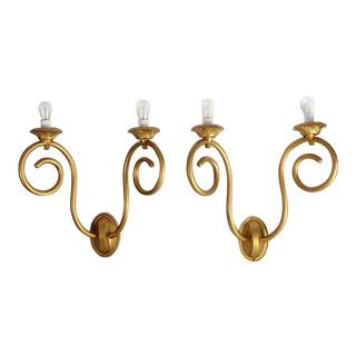 Early 20th C. Antique American Theater Gilded Tin Wall Sconces- A Pair For Sale
