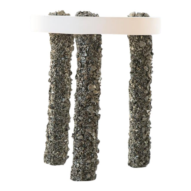 Hand Made Three-Leg Side Table of Pyrite and White Plaster, by Samuel Amoia For Sale