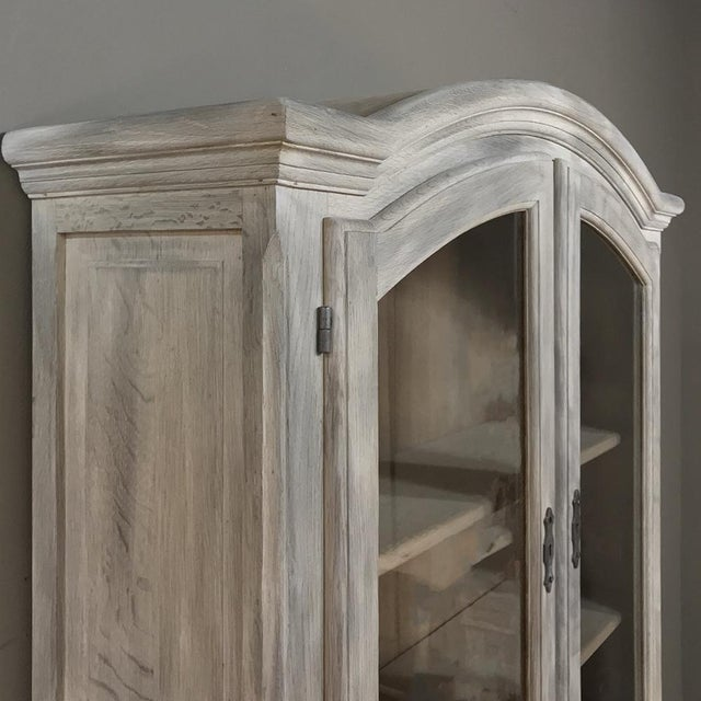 Rustic Antique Country French Whitewashed Secretary ~ Bookcase For Sale - Image 9 of 13