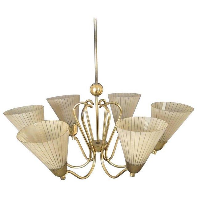 Brass German Brass & Etched Glass Chandelier, 1950s For Sale - Image 7 of 7