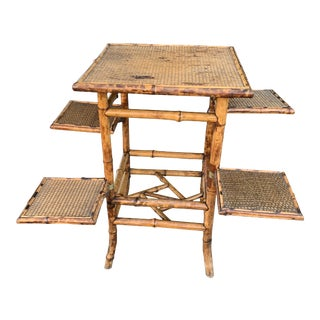Antique Continental Multi Tier Bamboo Side Table/ Plant Stand For Sale