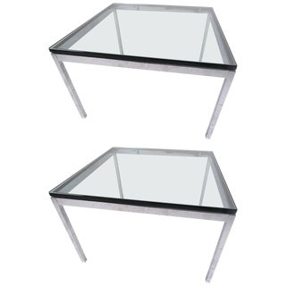 Pair of Mid-Century Modern Chrome and Glass Coffee Tables For Sale