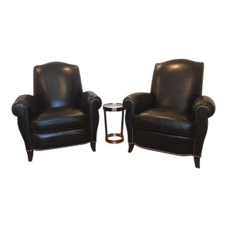 Ethan Allen Black Leather Club Chair and Recliner - Set of 2 For Sale