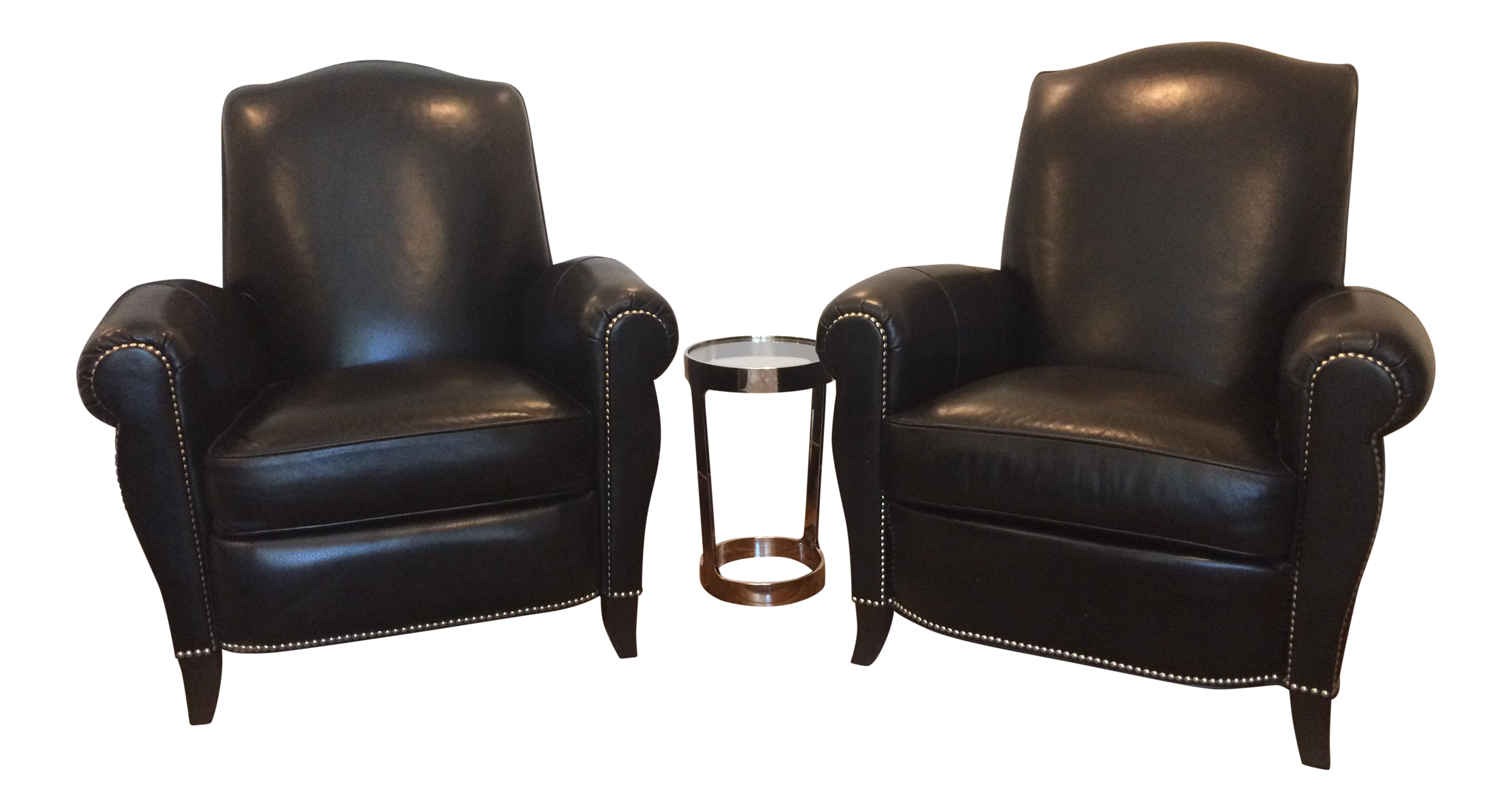 Ethan Allen Black Leather Club Chair And Recliner   Set Of 2