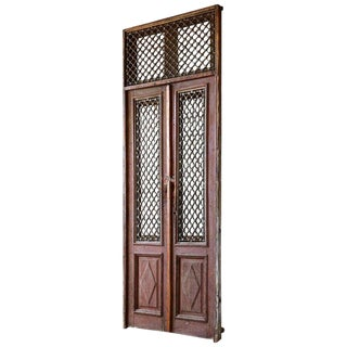Monumental French Doors and Transom With Iron Grills For Sale
