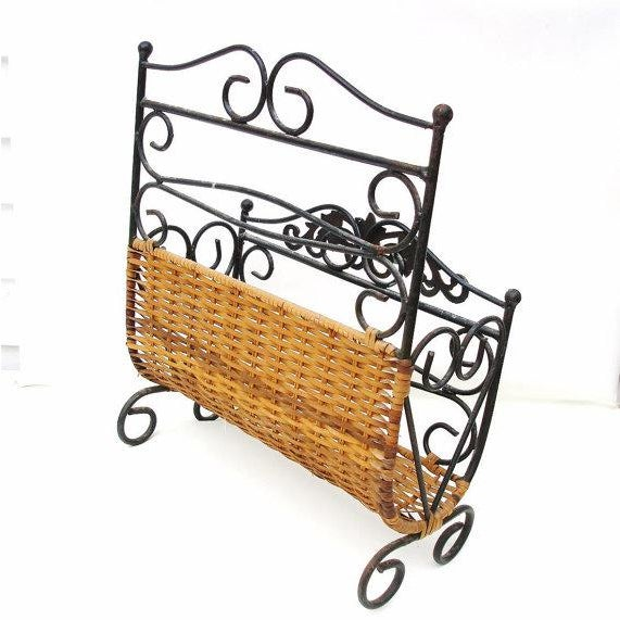 Wrought Iron & Rattan Magazine Basket For Sale - Image 6 of 6