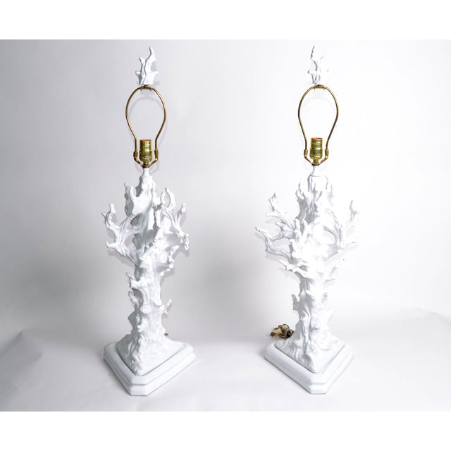 White Porcelain Tree Branches Table Lamps, Pair For Sale - Image 9 of 9