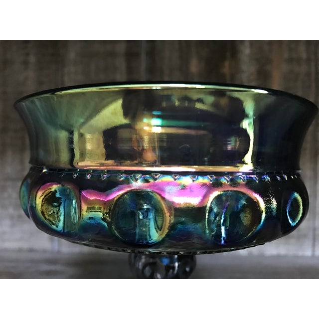 Indiana Glass Blue Carnival Kings Crown Compote - Image 5 of 8