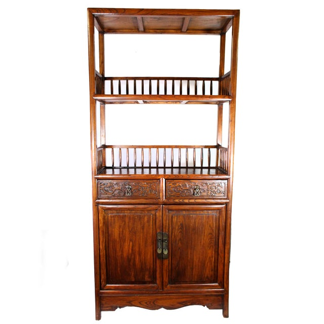 Chinoiserie Antique Chinese Solid Wood Fretwork Cabinet & Shelves For Sale - Image 3 of 5