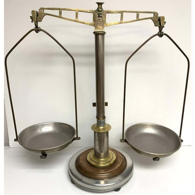 Industrial Antique Italian Mixed Metal Fruit Scale For Sale - Image 3 of 13