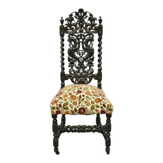 19th Century Renaissance Revival Carved Walnut Figural Throne Side Chair For Sale