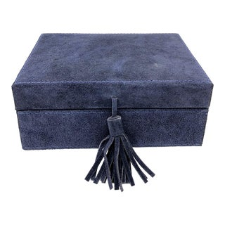 Americana Style Navy Blue Suede Leather Box - Medium