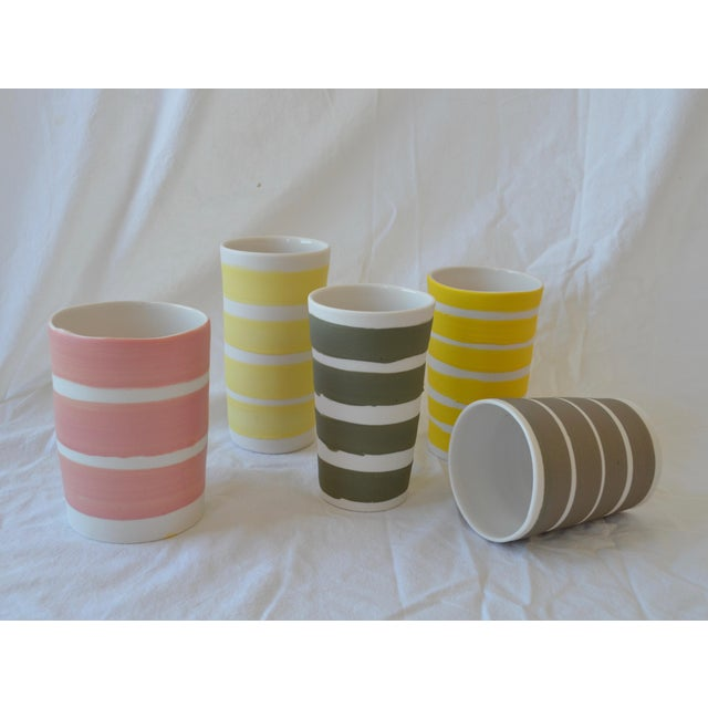 Contemporary Ceramic Multi Striped Cylindrical Vessels - Group of 5 For Sale - Image 13 of 13