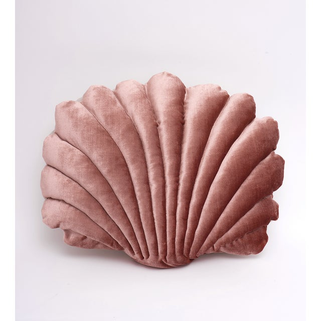 Large Shell Pillow - Rusty Pink Velvet For Sale - Image 4 of 4