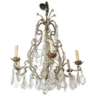 Italian Crystal Beaded Six-Light Chandelier, Early 20th Century For Sale