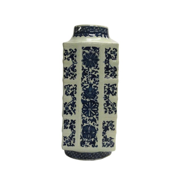 Chinese Blue & White Column Porcelain Vase For Sale