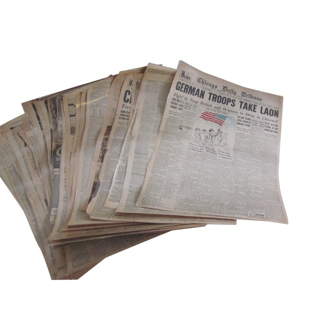 48 Laminated Newspapers from 1940s - Image 1 of 7