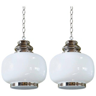 "European Hand-Blown Milk Glass With Painted ""Nickel"" Accents Pendants - a Pair For Sale"