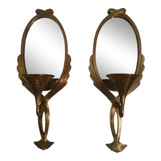 1985 Chapman Mirrored Brass Candle Wall Sconces - a Pair For Sale