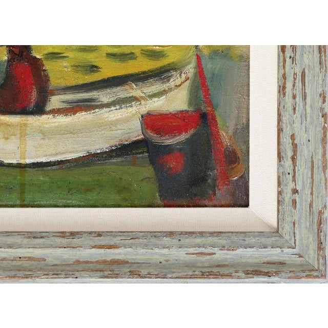1960 Wpa Style Fishing Boatyard Oil Painting For Sale - Image 4 of 10