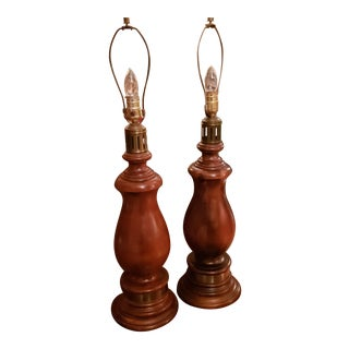 1950s Vintage Solid Wood Lamps With Brass Accents - a Pair For Sale