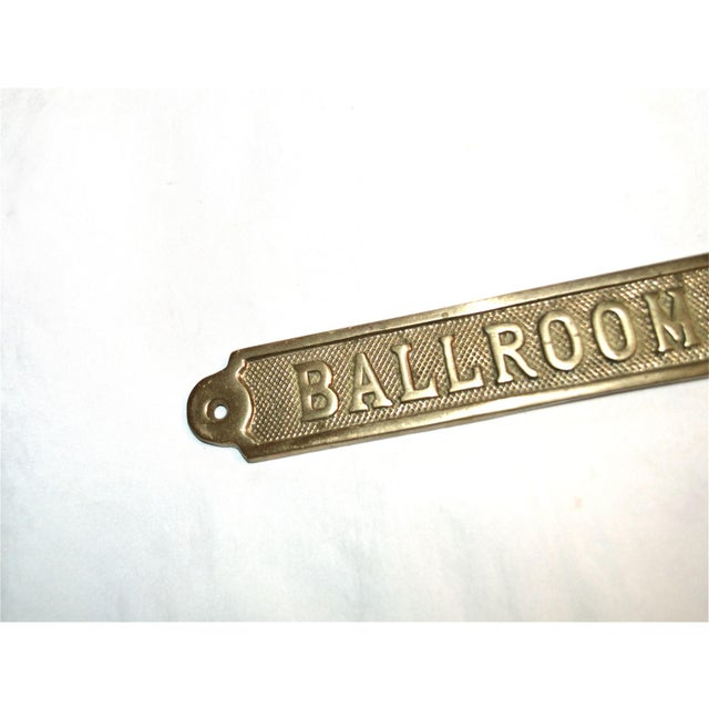 Vintage Ballroom Brass Plaque For Sale - Image 4 of 9