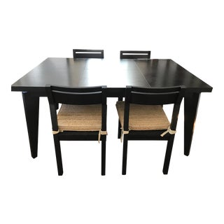 Mid-Century Modern West Elm Angled-Leg Dining Set - 5 Pieces For Sale