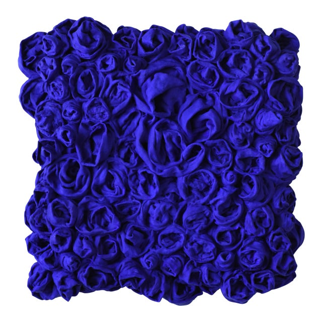 """""""Ultra Blue Rosettes"""" Mixed Media Wall Sculpture For Sale"""