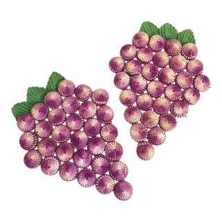 Vintage Crochet Bottle Cap Grape Trivets / Set of 2