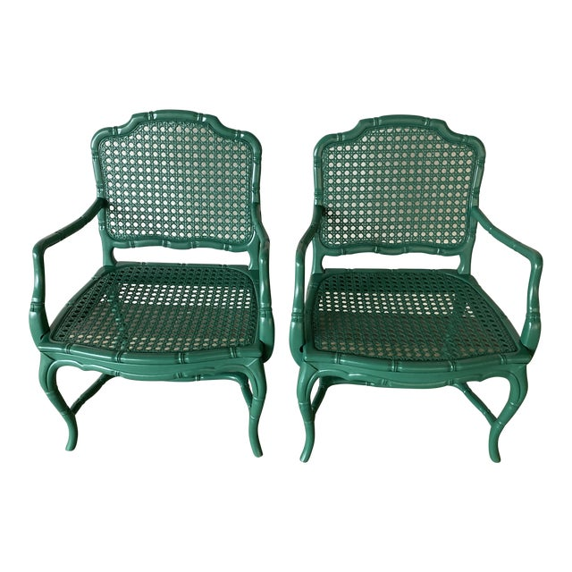 Vintage Green Lacquered Chairs - a Pair For Sale
