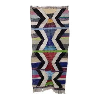 "Moroccan Kilim Boucherouite Rug- 3'10"" X 8'1"" For Sale"