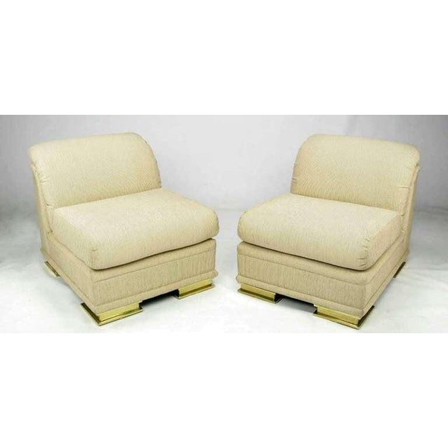 Art Deco Pair of Henredon Deco Revival Slipper Chairs in Taupe Silk and Brass For Sale - Image 3 of 10