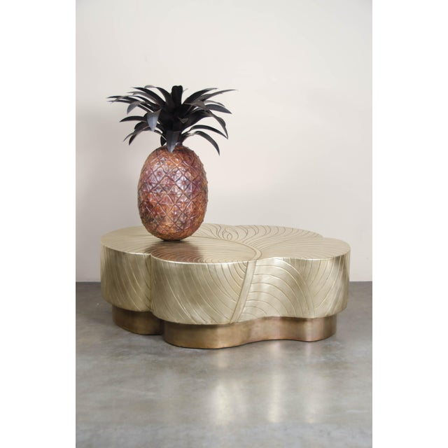 Metal Antique Copper Hand Repoussé Pineapple by Robert Kuo, Limited Edition For Sale - Image 7 of 8