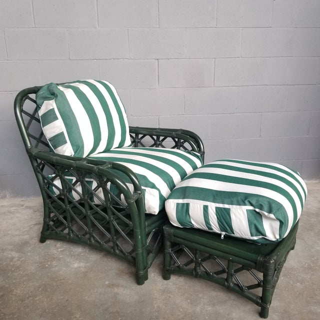 1960s Vintage Ficks Reed Hunter Green Rattan Lounge Chair and Ottoman Set For Sale - Image 13 of 13