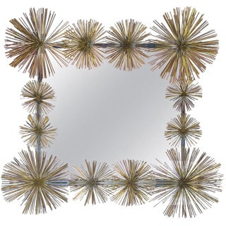 "French Handcrafted Metal ""Pom-Pom"" Wall Mirror For Sale"