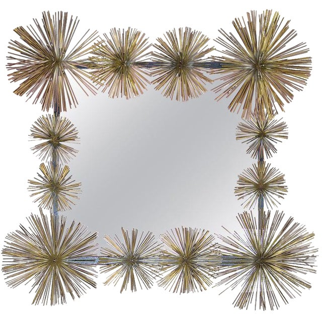 """French Handcrafted Metal """"Pom-Pom"""" Wall Mirror For Sale"""
