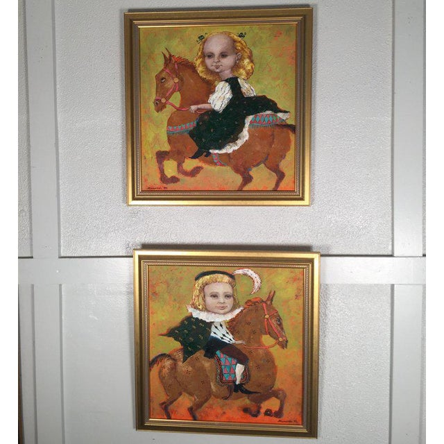 Whimsical oil paintings by Noted Russian artist Elena Kallistrova. Each depiction a young boy and girl riding on a horse...