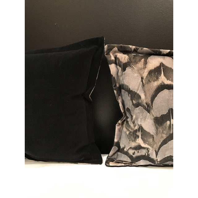 Scalamandre Contemporary Scalamandre Velvet Feather Amimal Print Pillows - a Pair For Sale - Image 4 of 7