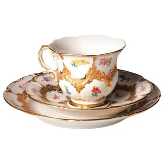 19th Century German Meissen Gold Gilt Coffee Kit - Set of 3 For Sale