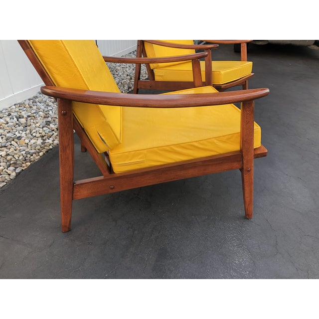 Yellow Mid Century Danish Modern Lounge Chairs- a Pair For Sale - Image 8 of 13