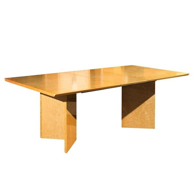 Gorgeous Knife Edge Extension Dining or Conference Table in Bird's-Eye Maple For Sale - Image 11 of 11